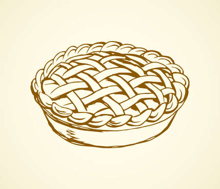 Yummy warm ripe fresh wheat xmas biscuit bread dish on white backdrop. Freehand outline brown ink hand drawn circle sign design in retro art doodle style pen on paper space for text. Closeup top view 向量圖像