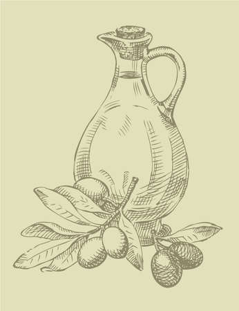 Vector outline. Still life of olive oil in a glass jar and sprigs of fresh olives