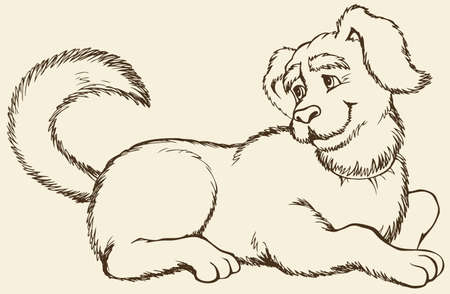 Vector monochrome hand-drawn outline picture. Shaggy big dog lying on the floor, waving his tail and cheerfully looking sideways Stock fotó - 157843311