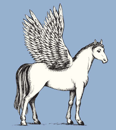 Gorgeous pride white Pegasus with long tail and outspread large wings. Vector monochrome freehand ink drawn background sketchy in art scribble antiquity style pen on paper with space for text