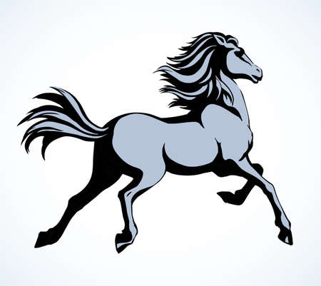Gorgeous pride white courser smartly rear up on ranch race paddock. Freehand outline black ink pen hand drawn andalusian ride beast   emblem pictogram design. Art doodle retro paper cartoon style