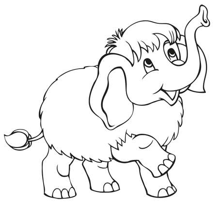 Vetstor linear cartoon. Cute baby mammoth isolated on white background
