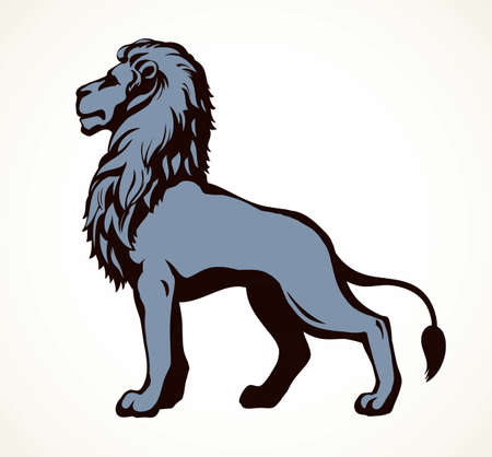 Beautiful african proud powerful nobility big leo standing and fierce looking for prey. Black ink outline drawn  sign emblem sketchy in art doodle style pen on paper. Side view with space for text Ilustrace