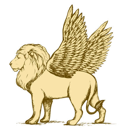 Powerful pretty beautiful young strong large lio standing with open fluffy wings. Vector freehand ink drawn background sketch in art scribble antiquity style pen on paper. Side view with space for text