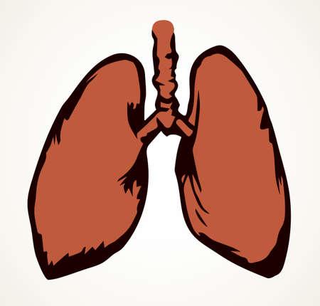 Smoker person thorax lobe shape organism element. Outline black hand drawn aorta artery part aid   pictogram emblem image design. Doodle sketch art cartoon style. Closeup line view white text space
