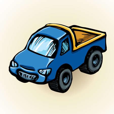 Cute toy dark indigo transfer sedan smooth shape isolated on white background. Freehand vibrant colot hand drawn picture sign sketchy in art retro scribble style. Closeup side view with space for text 向量圖像