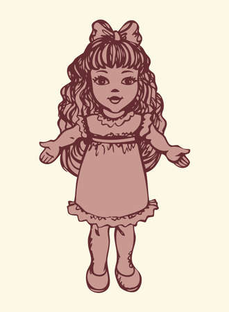 Small cute tilda poppet girlie isolated on white backdrop. Freehand outline ink hand drawn picture sketchy in art retro scribble style pen on paper. Closeup side view with space for text