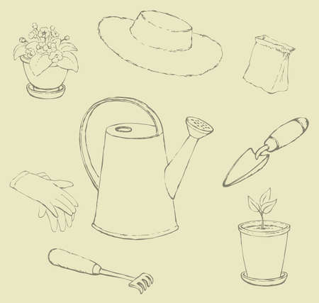 Vector sketches garden utensils. Lake, horticultural gloves, shovel, rake, sun hat, a bag of seeds and pots with plants