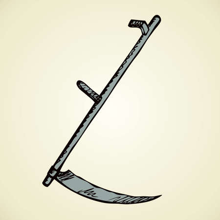 Whet pointy reap edge scythe for mowing herb or reaping crops isolated on white backdrop. Freehand outline ink hand drawn icon sign sketchy in art scribble retro style pen on paper with space for text