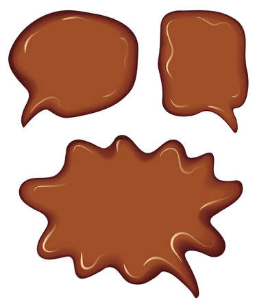 Vector collection of speech bubbles, consisting of melted chocolate
