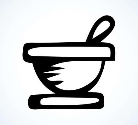 Ancient closeup porcelain medic rx disease drugstore lab pot contain extract. Outline black hand drawn cook crush chemist science cup utensil emblem concept design art retro doodle line cartoon style 向量圖像