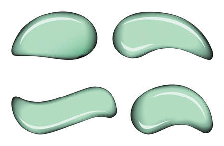 Curvy form vibrant lime pistachio color spread enamel dye on white backdrop. Smooth shiny gloss pour sample splodge set design surface.
