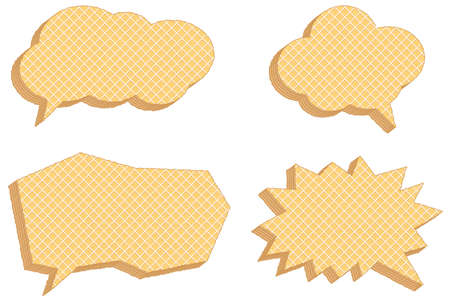 Vector collection of speech bubbles, consisting of waffles