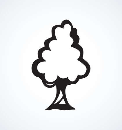 Cute tall green deciduous walnut isolated on white backdrop. Freehand line black ink hand drawn logotype emblem sketchy in art contour scribble comic retro style pen on paper with space for text