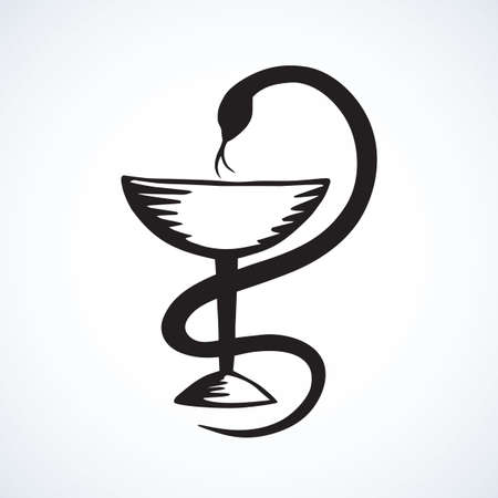 Beaker of Hygieia insignia isolated on white background. Web abstract caduceus ui line  concept. Freehand black ink outline hand drawn emblem sketchy in art retro doodle graphic style pen on paper 向量圖像