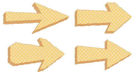 Vector symbols of texture of wafers. Different arrows
