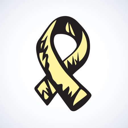 symbol of association of spinal bifida, bladder, os tumor, osteosarcoma, endometriosis, craniofacial acceptance. Hand drawn doodle graphic emblem