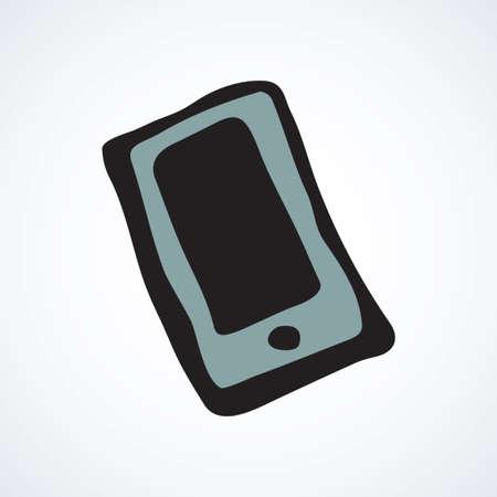 Blank lcd pc talk touch phone on white backdrop. Data wifi sms app concept. Vektorové ilustrace