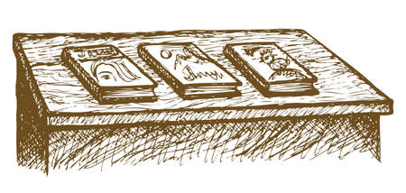 Old-fashioned desk with books laid out for sale. Vector freehand ink drawn background sketchy in art scribble style pen on paper. View close-up with space for text