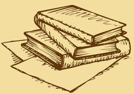 Vector monochrome freehand sketchy ink linear drawn backdrop in doodle style pen on paper with space for text. Stack of thick books lying on scattered pieces of paper 矢量图像