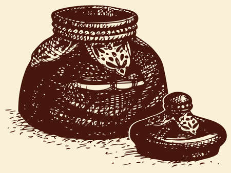 Vector sketch of ink. Old antique vintage glass bowl with the lid open elaborately decorated inlaid decorative metal ornament