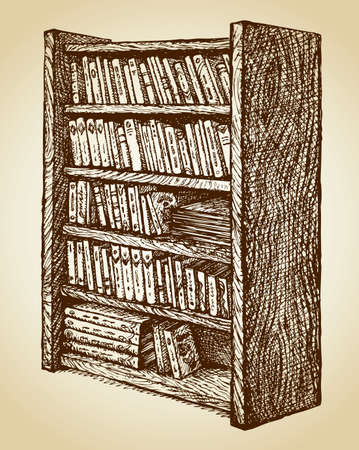 Old-fashioned bookcase with variety in shape and upkeep of books exhibited for sale. Vector freehand ink drawn background sketchy in art scribble style pen on paper. View close-up with space for text