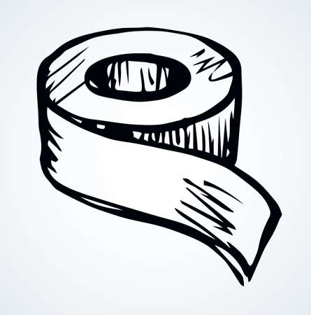 Join bind bobbin set on light paper text space backdrop. Outline black ink hand drawn web bonding stationary element   pictogram emblem design in retro art doodle cartoon print style. Close up view