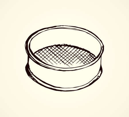 Old steel mesh percolate pot on white backdrop. Freehand line black ink hand drawn water filter bowl object  emblem sketchy in art retro scribble etching style pen on paper space for text