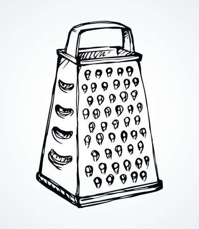 Old iron cookware foodstuff dishware box on light backdrop. Outline black drawn chrome shredder utility