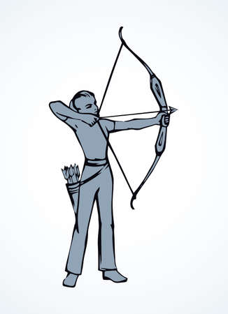 Athletic power shooter lady figure stand with longbow on white backdrop. Freehand line black ink drawn dart point bow woman emblem sketchy in art retro doodle style pen on paper and space for text