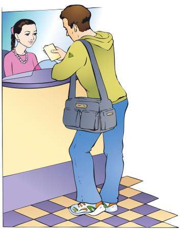 Vector illustration. Dialogue between the customer and cashier