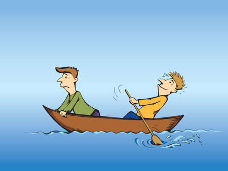 2 candid guys figure trip in old small wood ski skiff isolated on blue lake background. Bright color drawn together teamwork sketch in art retro doodle comic style. Side view and space for text on sky