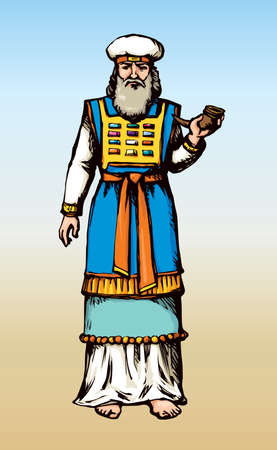 Moses torah historic divine ministry culture. Old righteous character bearded Aaron in tunic, turban with horn of anoint oil. Bright blue color hand drawn judaic levit leader in vintage art east style Stock Illustratie