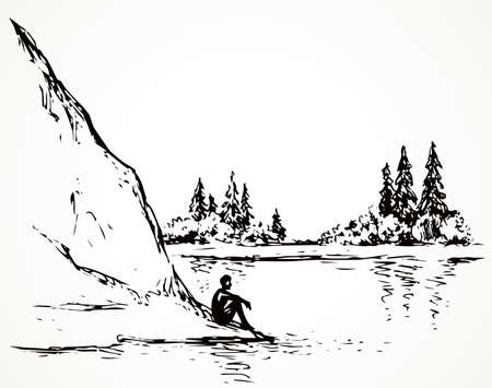Cliff calm remote Alps scene on high riverbank. Line black ink hand drawn sad lone young girl on space for text on white sky. Wild Alpine waterfront pond peace view picture in art vintage doodle style