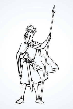Brave noble armor swordsman king hero with aged long lance, hauberk, long sword on white background. Outline ink hand drawn  sign sketch in art retro doodle style pen on paper space for text