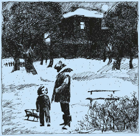 Vector sketch. A father and child walking in the park near the house on a winter evening Иллюстрация