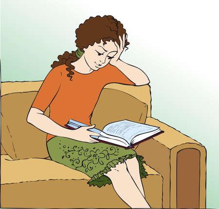 Vector illustration. Girl in a chair reading a book Vecteurs