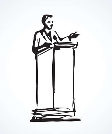 Modern government talk oratory narrator isolated on white stage backdrop. Freehand linear black ink hand drawn picture on paper with space for text
