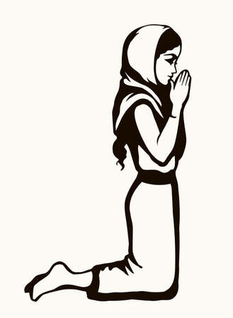 Young worry sorrow sad problem pretty lady ask Lord Jesus. Retro art sketch white text space.