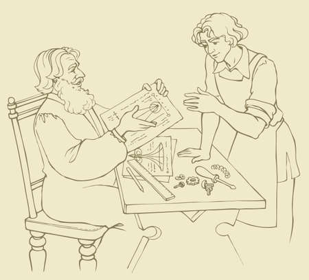 Vector illustration. The wise old master of medieval Europe teaches his young apprentice the secrets of engineering drawings