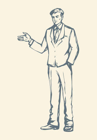 Adult modern handsome elegant guy at casual office labor isolated on white backdrop. Freehand outline ink drawn picture icon sketchy in retro art doodle style pen on paper with space for text on wall 矢量图像