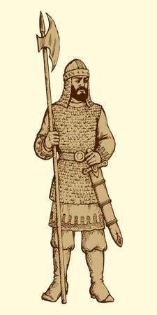Brave noble bearded armor king defense combatant of Kyivan Rus chronological time period. Outline freehand ink hand drawn background sketchy in art antiquity style pen on paper with space for text