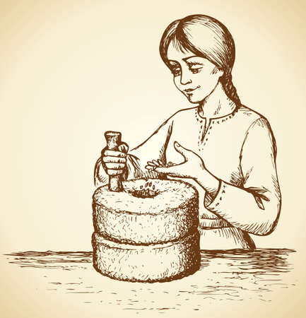 Girl grinds grain at millwheel with handle holder and hole filling seeds for processing into flour for cooking. Vector monochrome freehand linear ink drawn backdrop sketchy in art scribble antique style pen on paper with space for text on sky