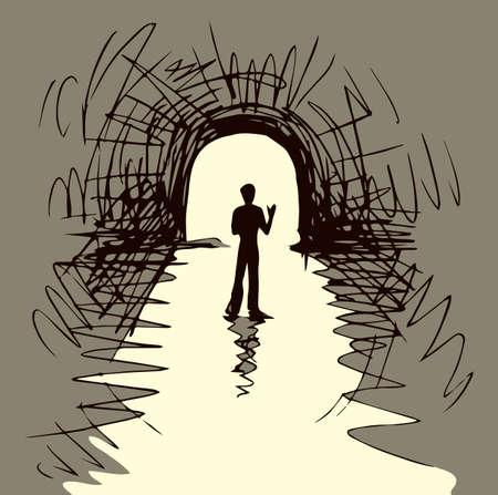 1 young sad male body pass go away view. Deep grief spirit problem white text space. Ilustração