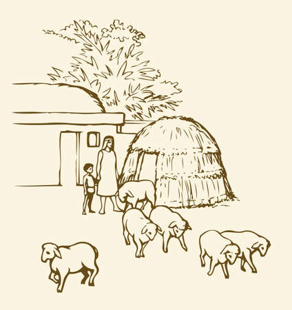 Past biblical babylon aged tropical rural tribe adobe. Early arabian peasant slave job ram breeding herd farm. Old clay mud abode, round thatch barn shelter. Outline draw picture sketch in retro style