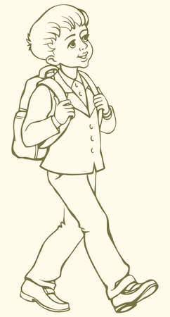 Vector monochrome line drawing. Cute little boy goes to school in school uniform with backpack