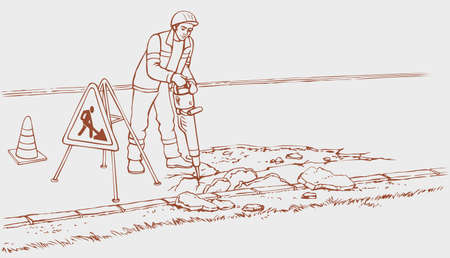 Vector monochrome line drawing. Roadworks. Construction worker in overalls with jackhammer removes asphalt, so the road repair
