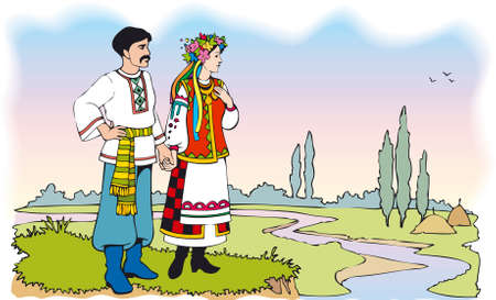 Vector Image. Ukrainian couple in colorful national costumes against the backdrop of the summer landscape with river