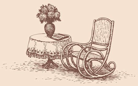 Vector drawing comfortable rocking chair, standing near the round table with an embroidered tablecloth, on which stands a vase of flowers and is a book