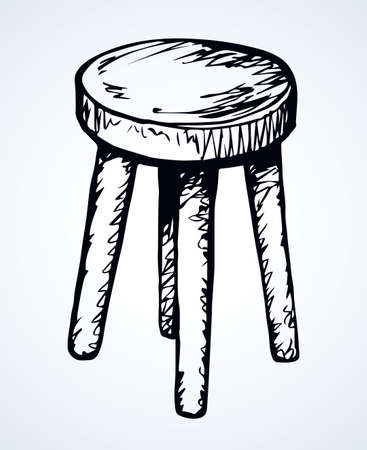 Fashion single dining tabouret on 4 sticks on light room backdrop. Freehand outline dark black ink hand drawn  emblem pictogram sketchy in ancient art doodle etched style pen on paper text space